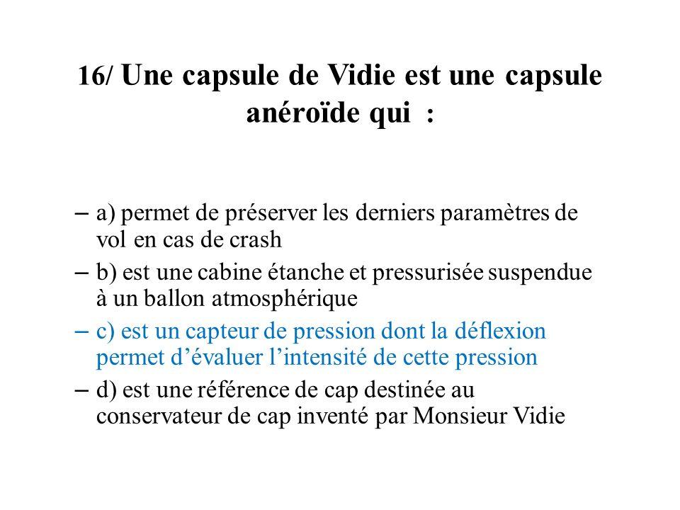 16/ Une capsule de Vidie est une capsule anéroïde qui :