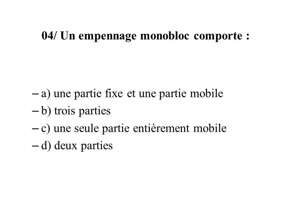 04/ Un empennage monobloc comporte :