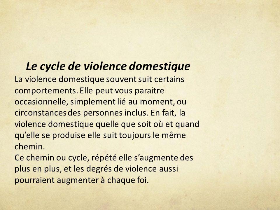 Le cycle de violence domestique