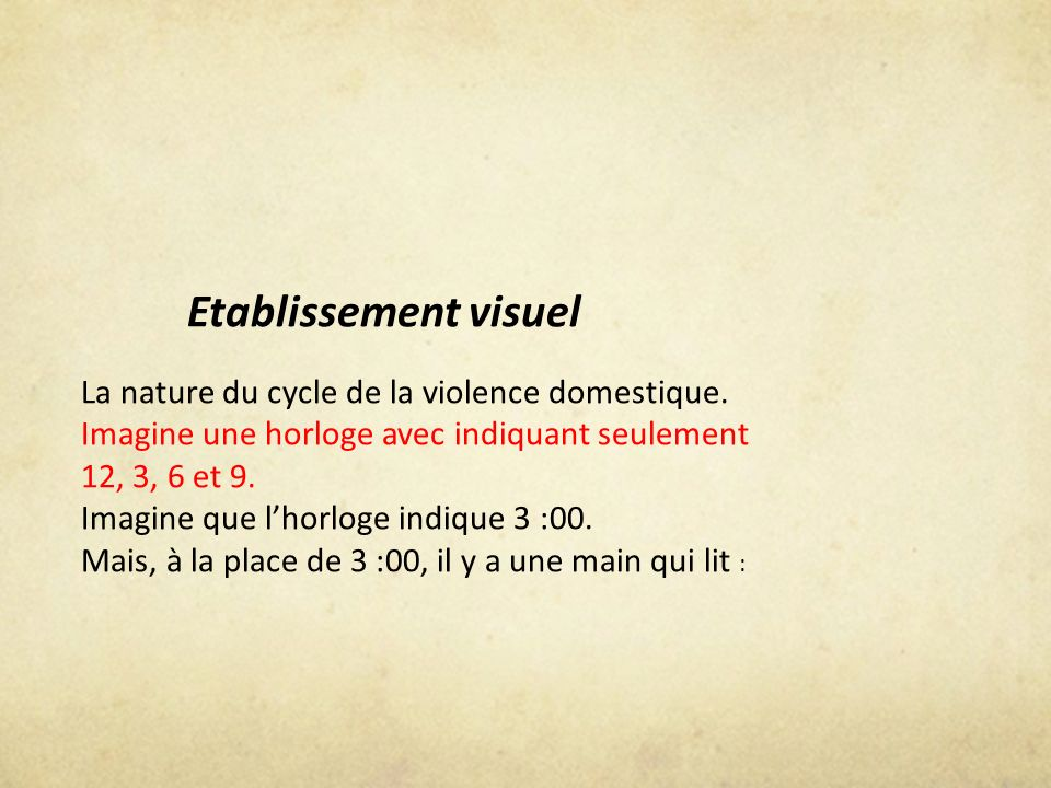 Etablissement visuel La nature du cycle de la violence domestique. Imagine une horloge avec indiquant seulement 12, 3, 6 et 9.