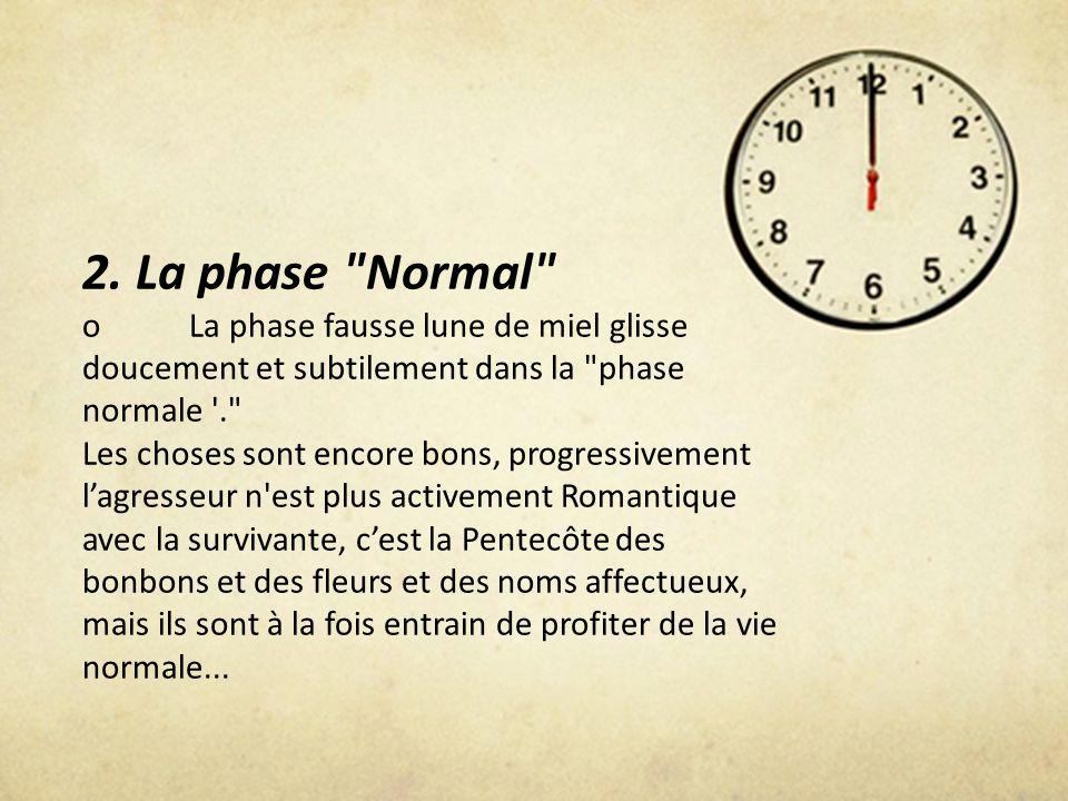 2. La phase Normal o La phase fausse lune de miel glisse doucement et subtilement dans la phase normale .