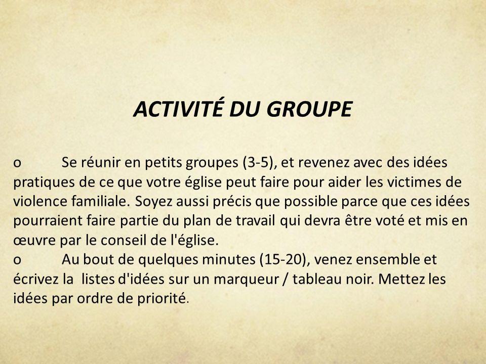 ACTIVITÉ DU GROUPE