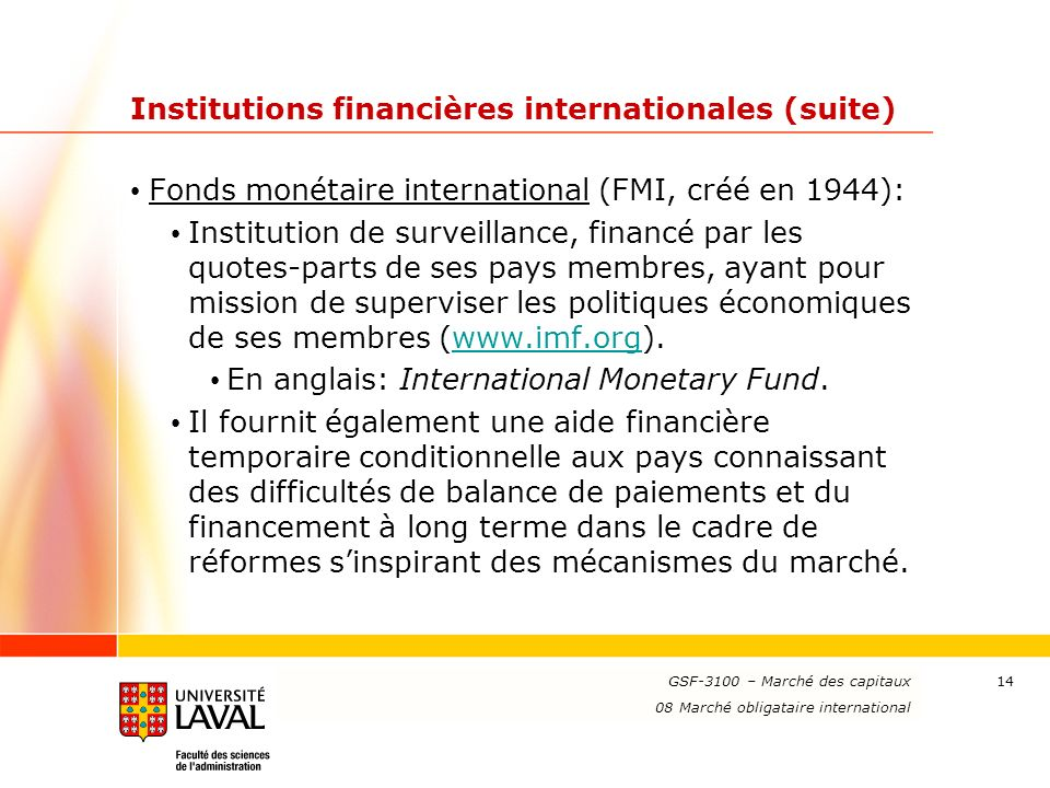 Institutions financières internationales (suite)