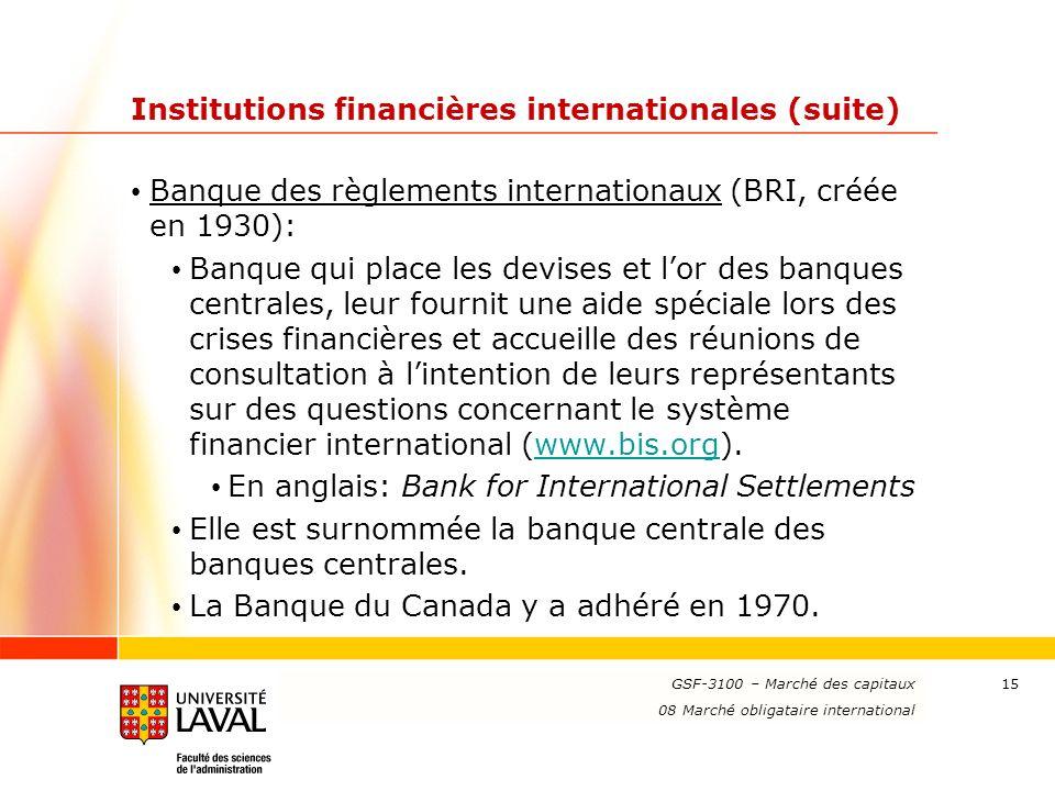 Institutions financières internationales (suite)