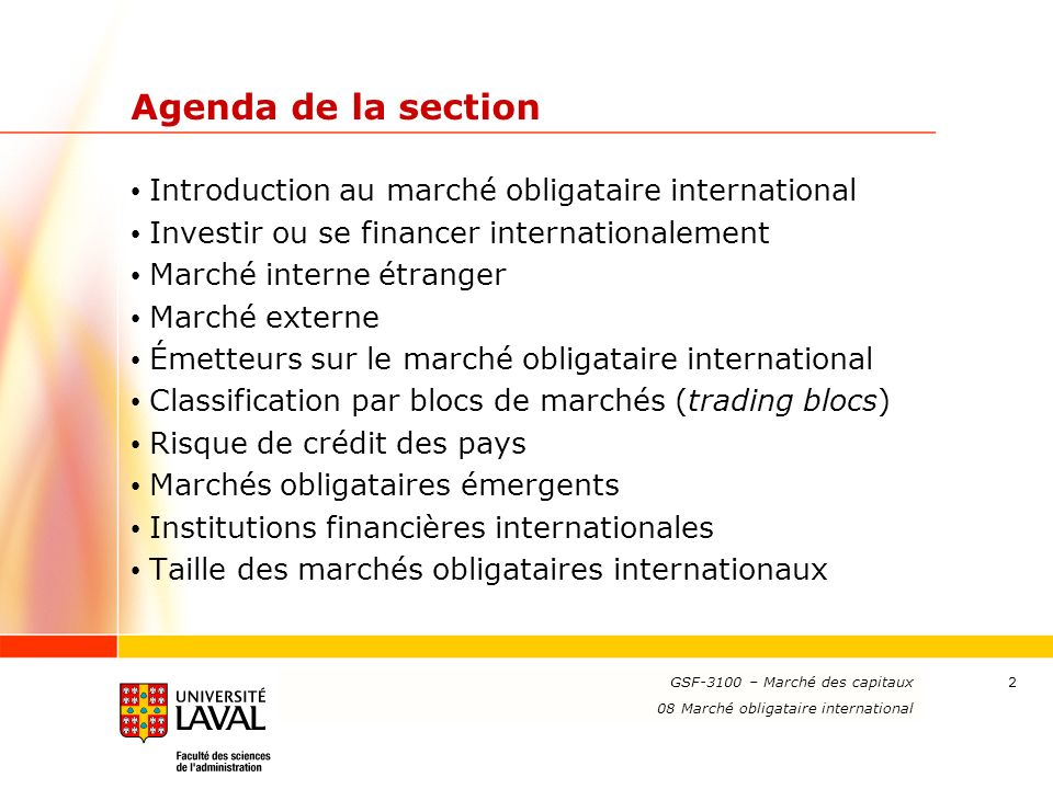 Agenda de la section Introduction au marché obligataire international