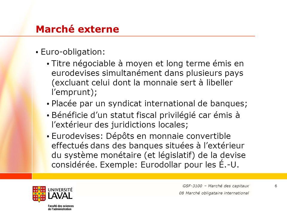 Marché externe Euro-obligation:
