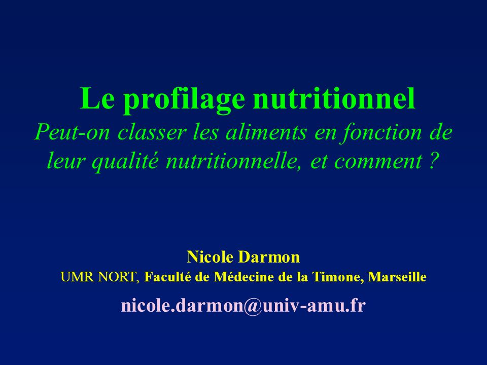 Le profilage nutritionnel