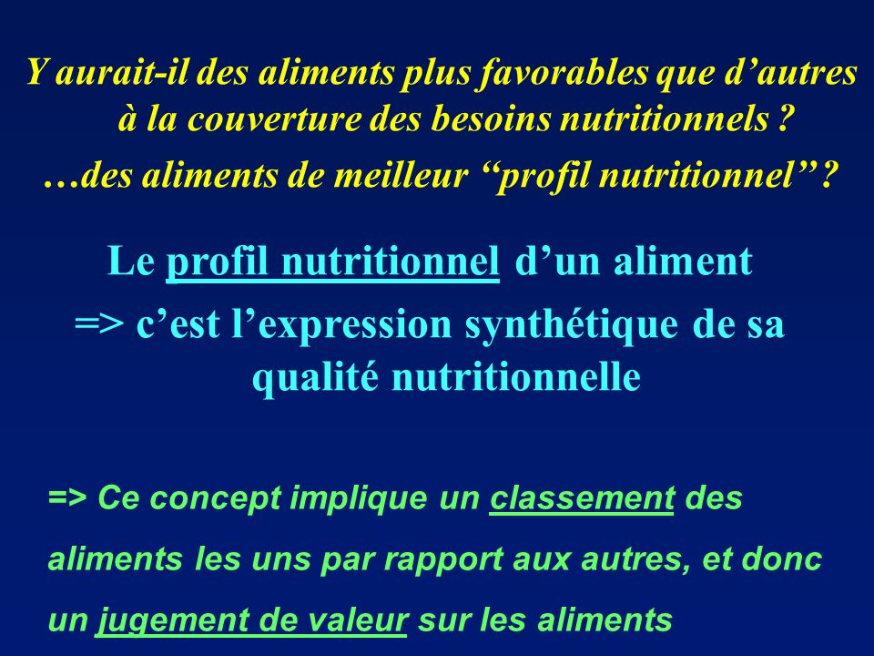 Le profil nutritionnel d'un aliment