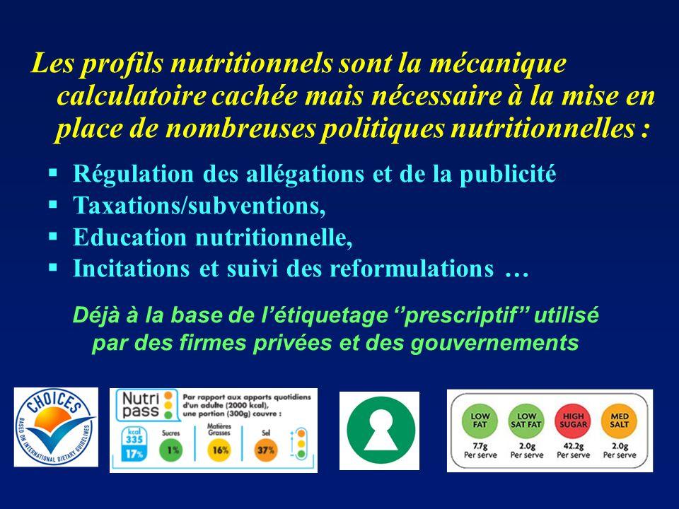 Les profils nutritionnels sont la mécanique calculatoire cachée mais nécessaire à la mise en place de nombreuses politiques nutritionnelles :