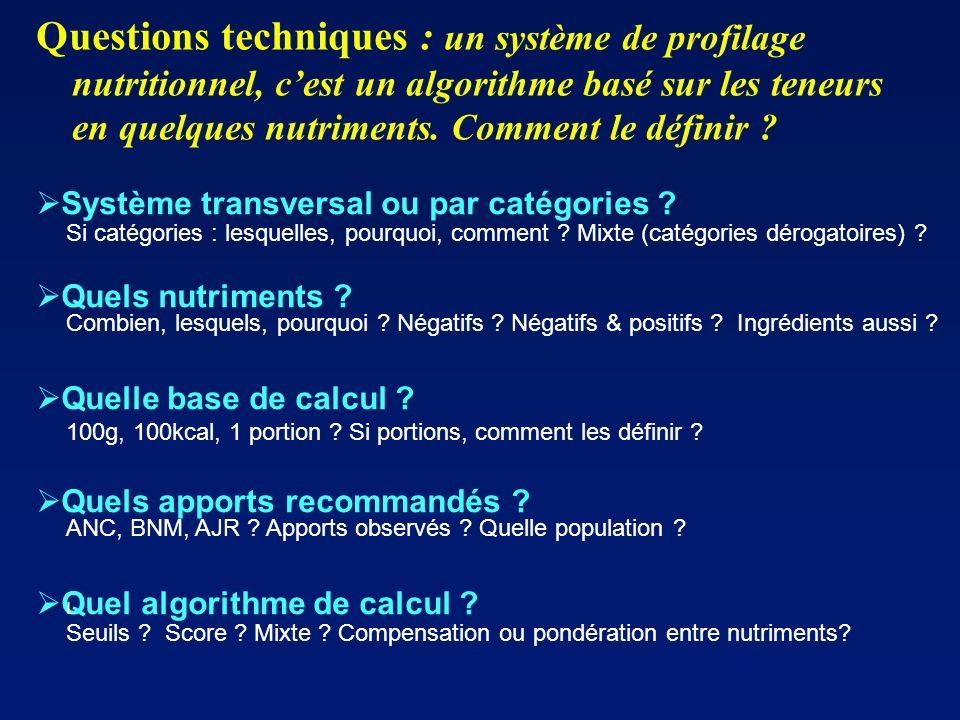 Questions techniques : un système de profilage nutritionnel, c'est un algorithme basé sur les teneurs en quelques nutriments. Comment le définir