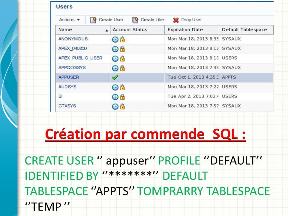 Création par commende SQL :