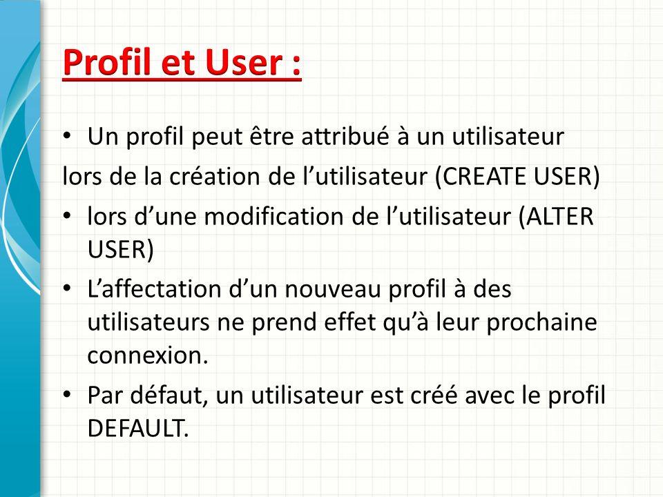 Profil et User : Un profil peut être attribué à un utilisateur