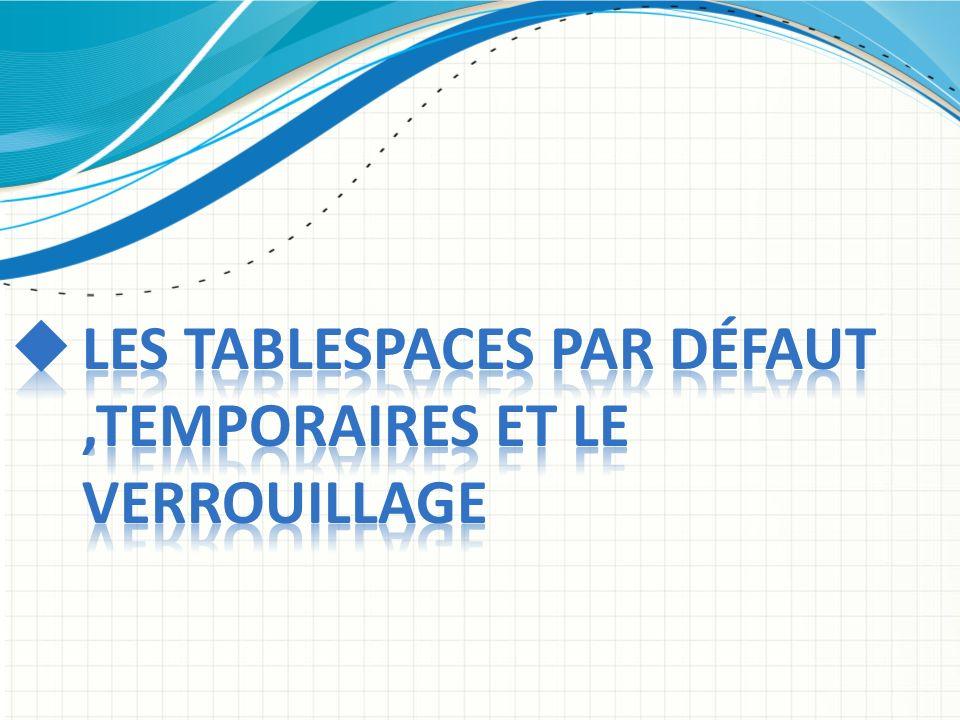 Les tablespaces par défaut ,temporaires et le verrouillage