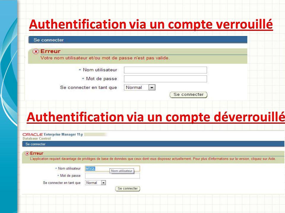 Authentification via un compte verrouillé