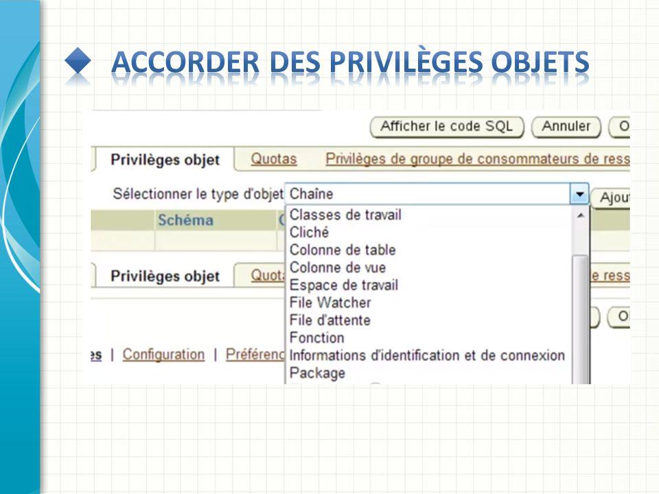 Accorder des privilèges objets