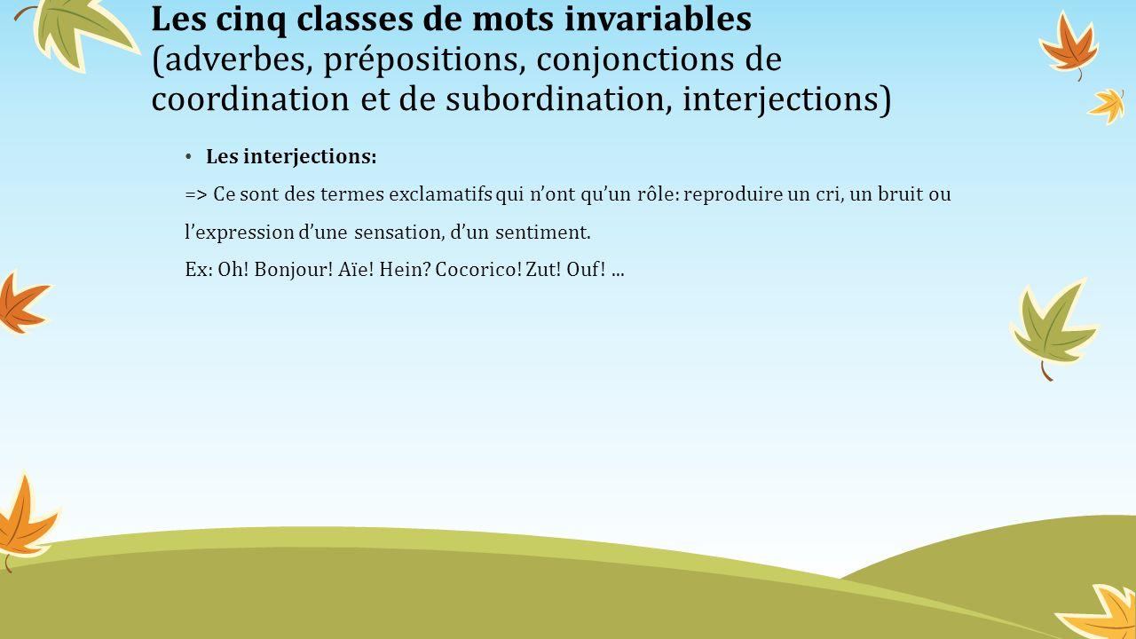 Les cinq classes de mots invariables (adverbes, prépositions, conjonctions de coordination et de subordination, interjections)