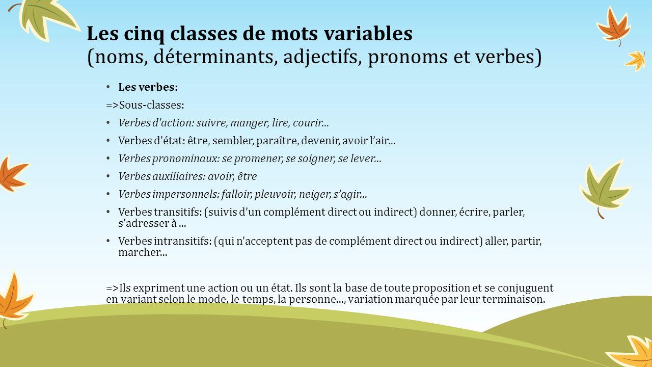 Les cinq classes de mots variables (noms, déterminants, adjectifs, pronoms et verbes)
