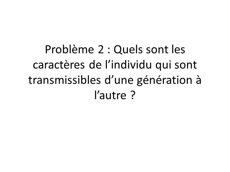 Problème 2 : Quels sont les caractères de l'individu qui sont transmissibles d'une génération à l'autre