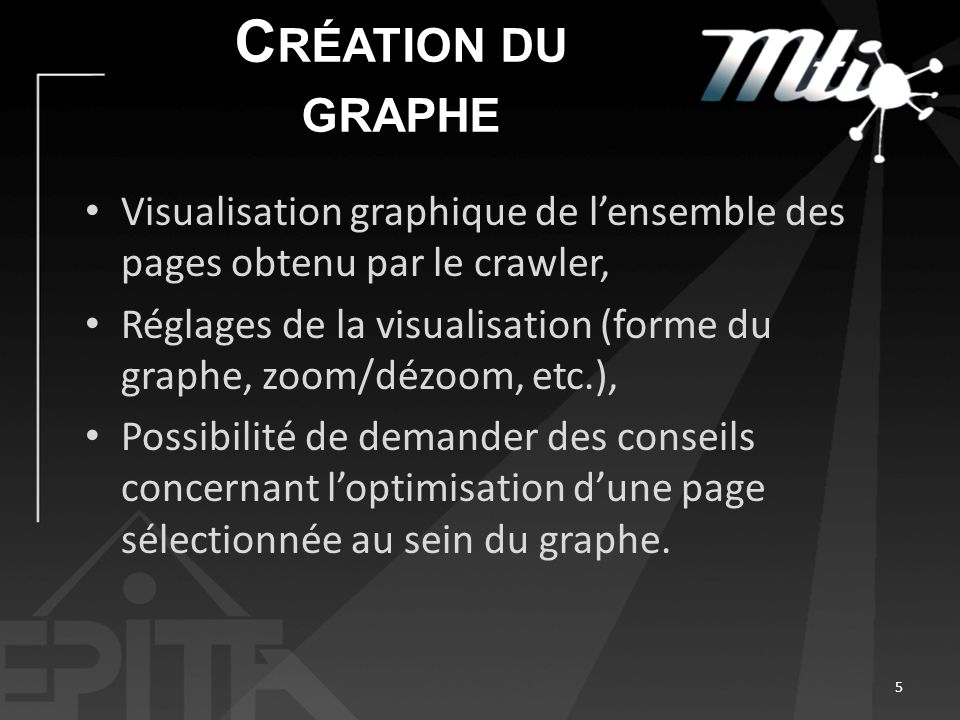 Création du graphe Visualisation graphique de l'ensemble des pages obtenu par le crawler,