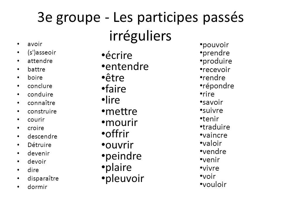 3e groupe - Les participes passés irréguliers