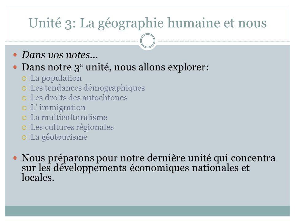 Unité 3: La géographie humaine et nous