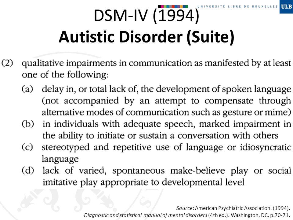 DSM-IV (1994) Autistic Disorder (Suite)