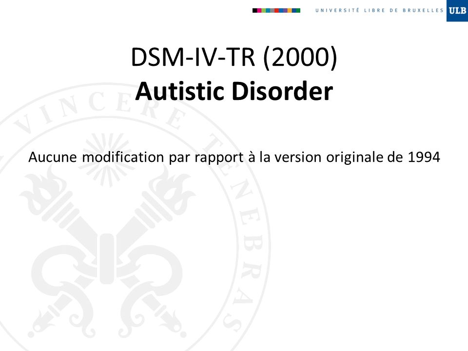 DSM-IV-TR (2000) Autistic Disorder