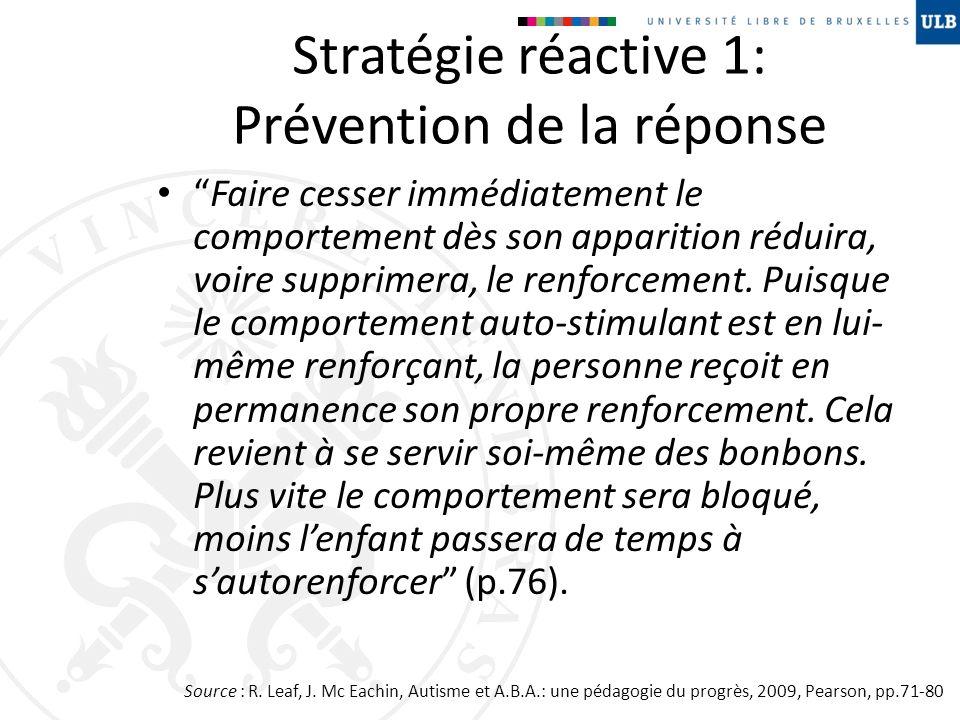 Stratégie réactive 1: Prévention de la réponse