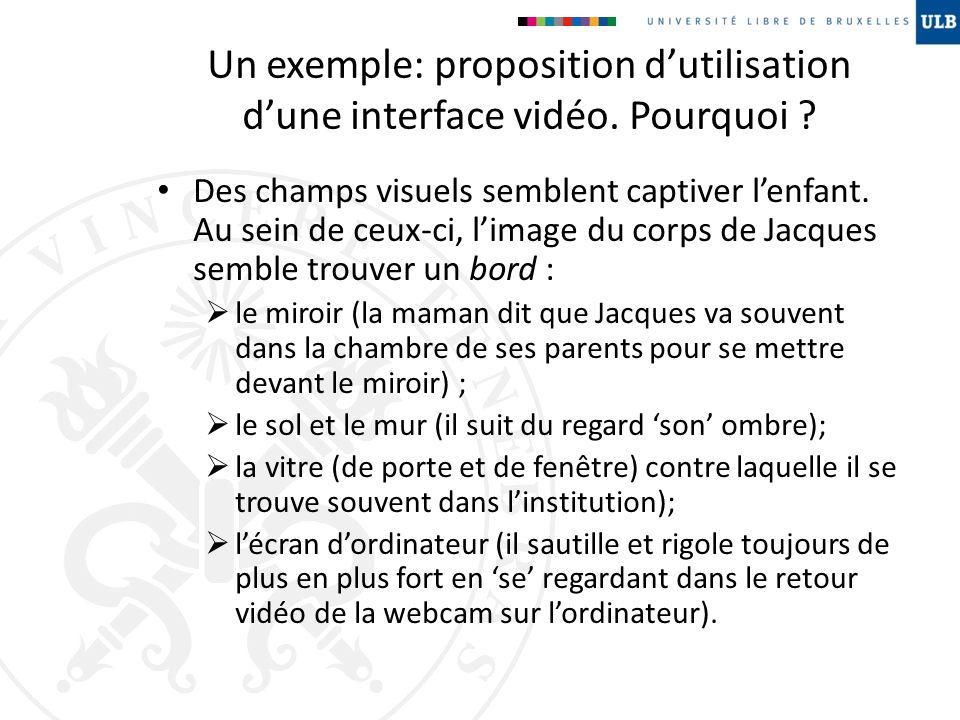 Un exemple: proposition d'utilisation d'une interface vidéo. Pourquoi