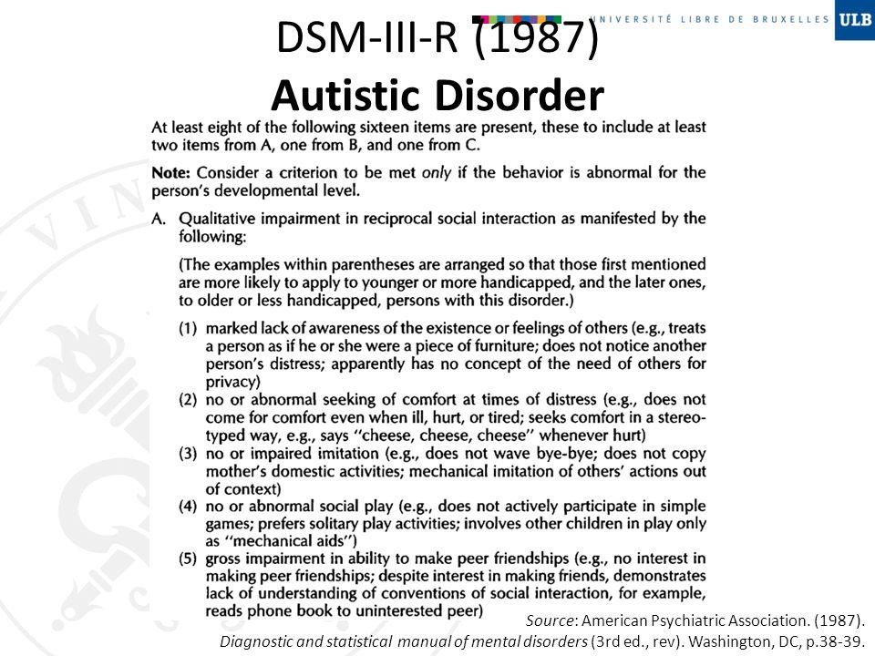 DSM-III-R (1987) Autistic Disorder