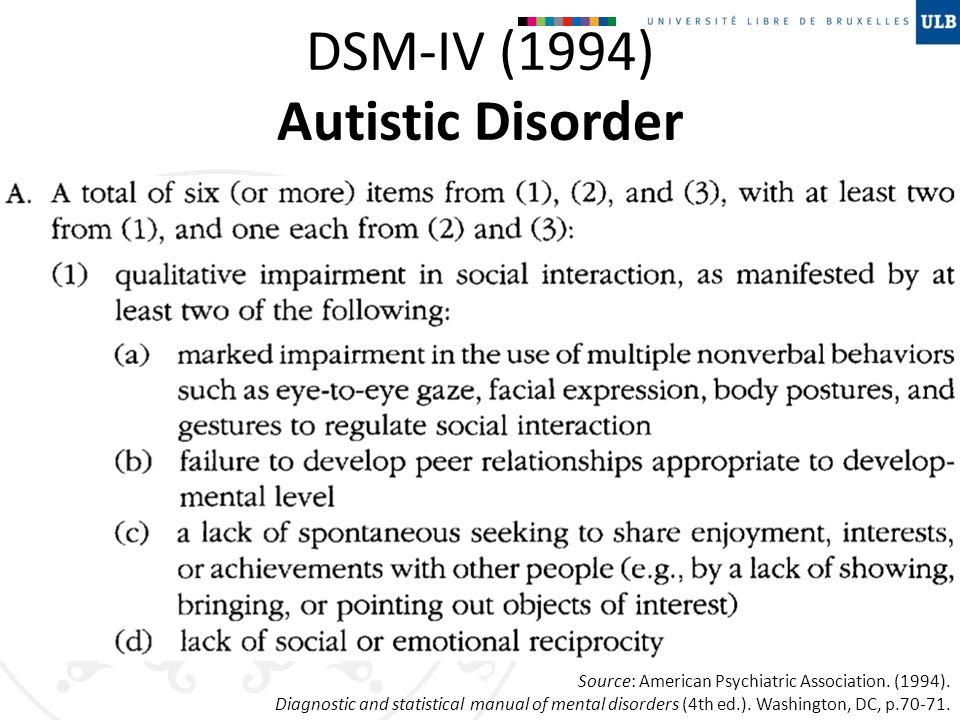 DSM-IV (1994) Autistic Disorder