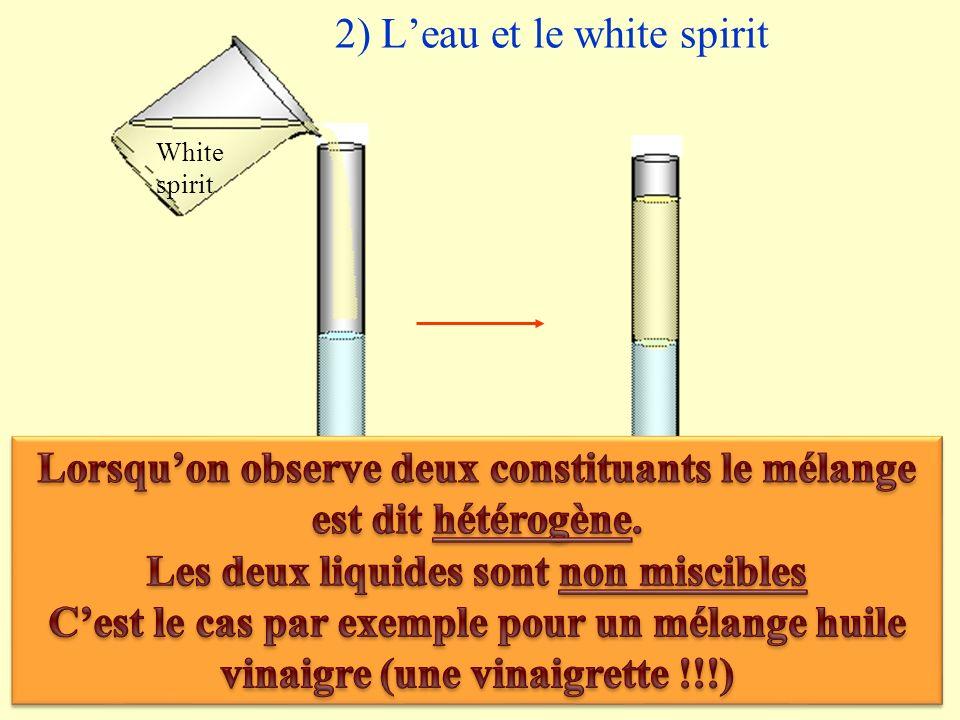 2) L'eau et le white spirit