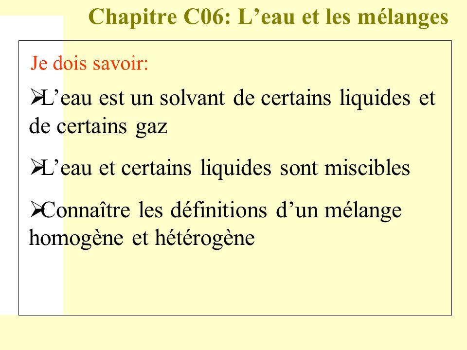 Chapitre C06: L'eau et les mélanges