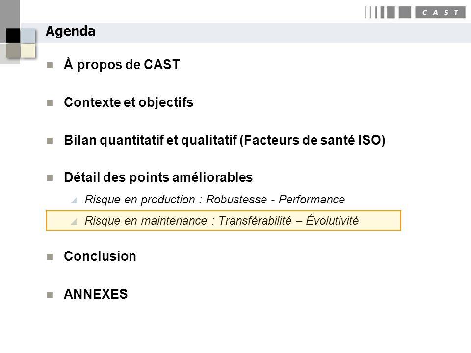 Bilan quantitatif et qualitatif (Facteurs de santé ISO)