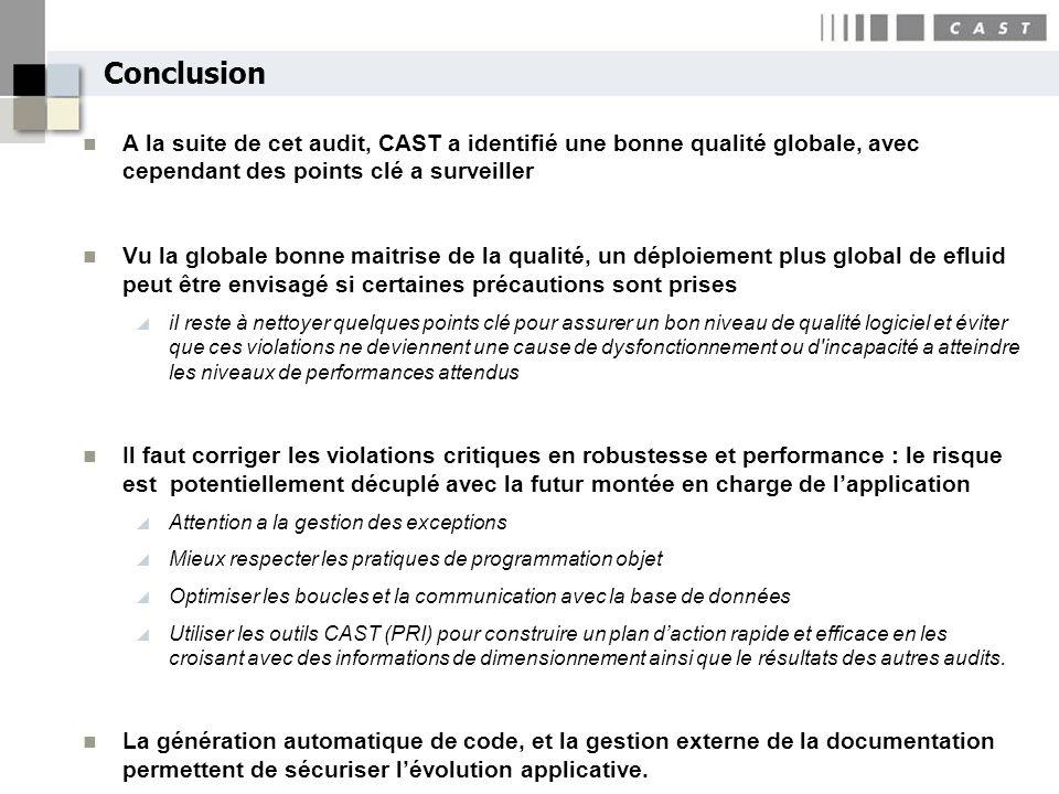 Conclusion A la suite de cet audit, CAST a identifié une bonne qualité globale, avec cependant des points clé a surveiller.
