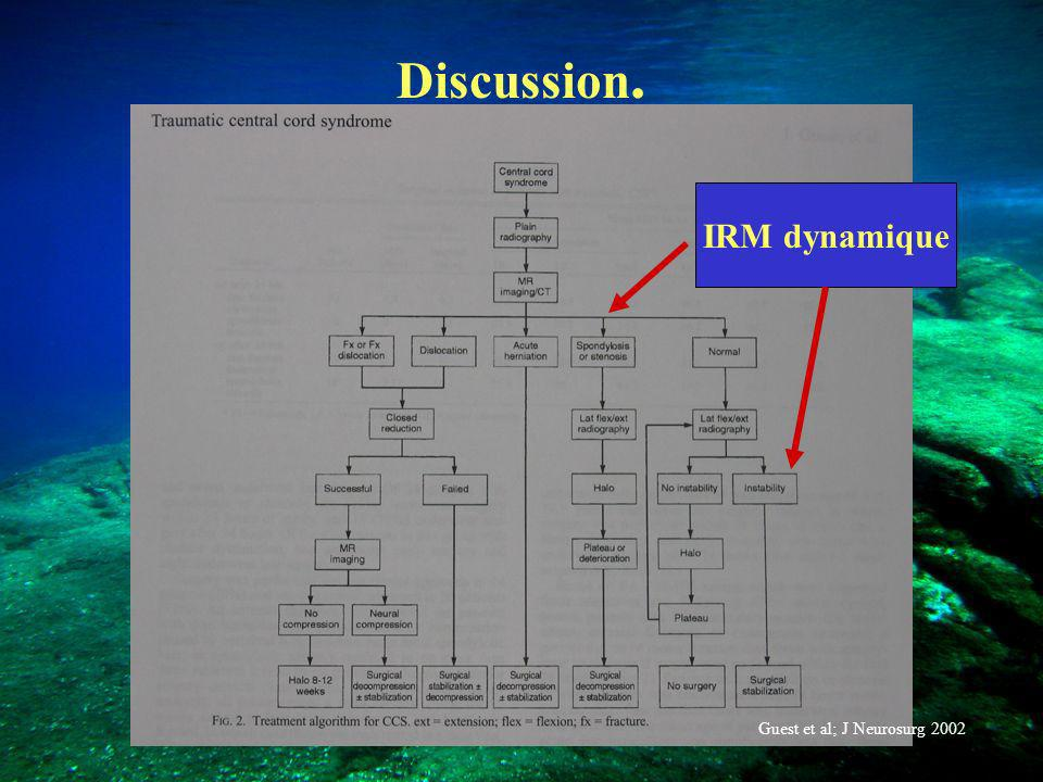 Discussion. IRM dynamique Guest et al; J Neurosurg 2002