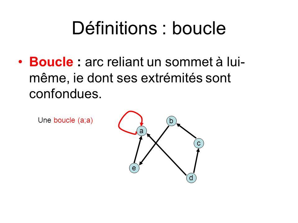 Définitions : boucle Boucle : arc reliant un sommet à lui-même, ie dont ses extrémités sont confondues.