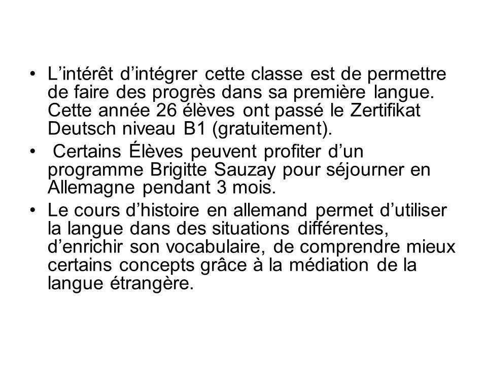 L'intérêt d'intégrer cette classe est de permettre de faire des progrès dans sa première langue. Cette année 26 élèves ont passé le Zertifikat Deutsch niveau B1 (gratuitement).