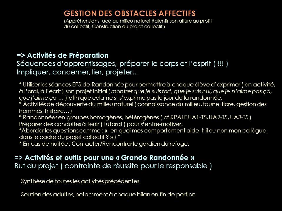 GESTION DES OBSTACLES AFFECTIFS