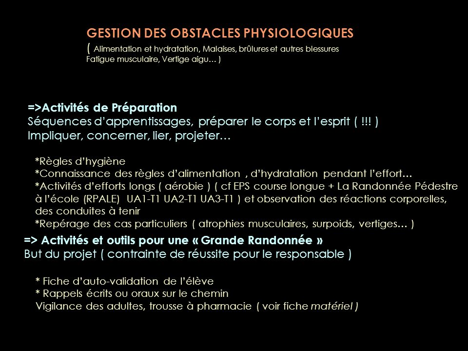 GESTION DES OBSTACLES PHYSIOLOGIQUES