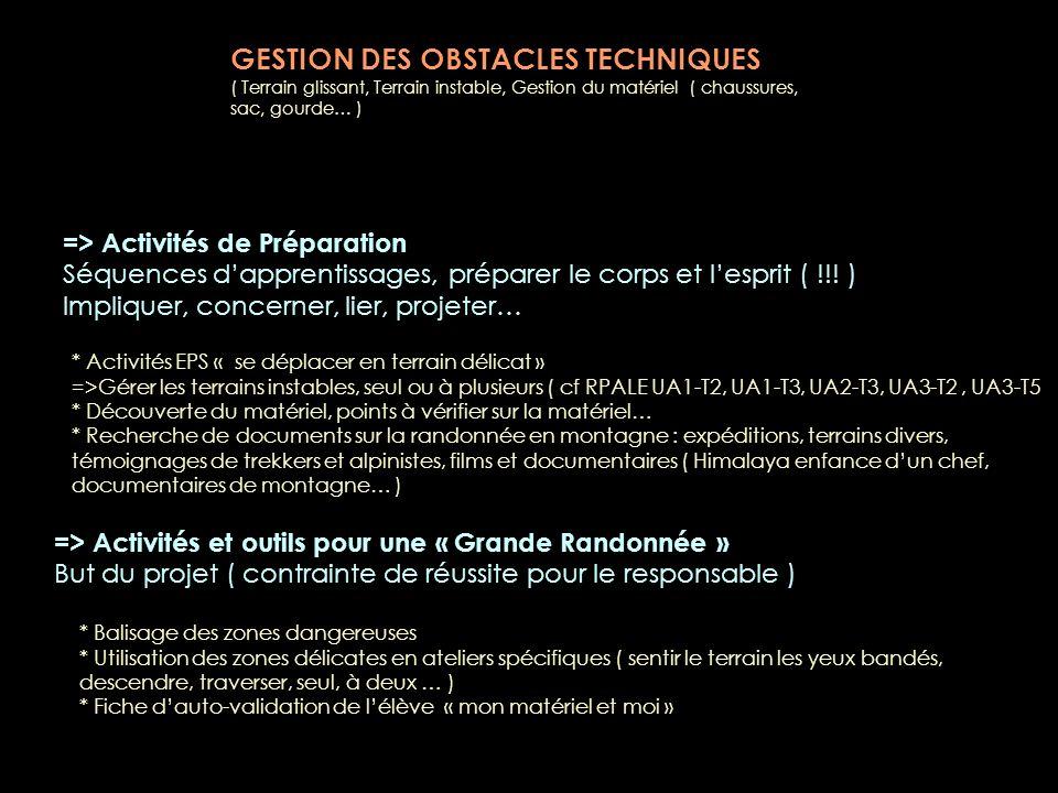 GESTION DES OBSTACLES TECHNIQUES