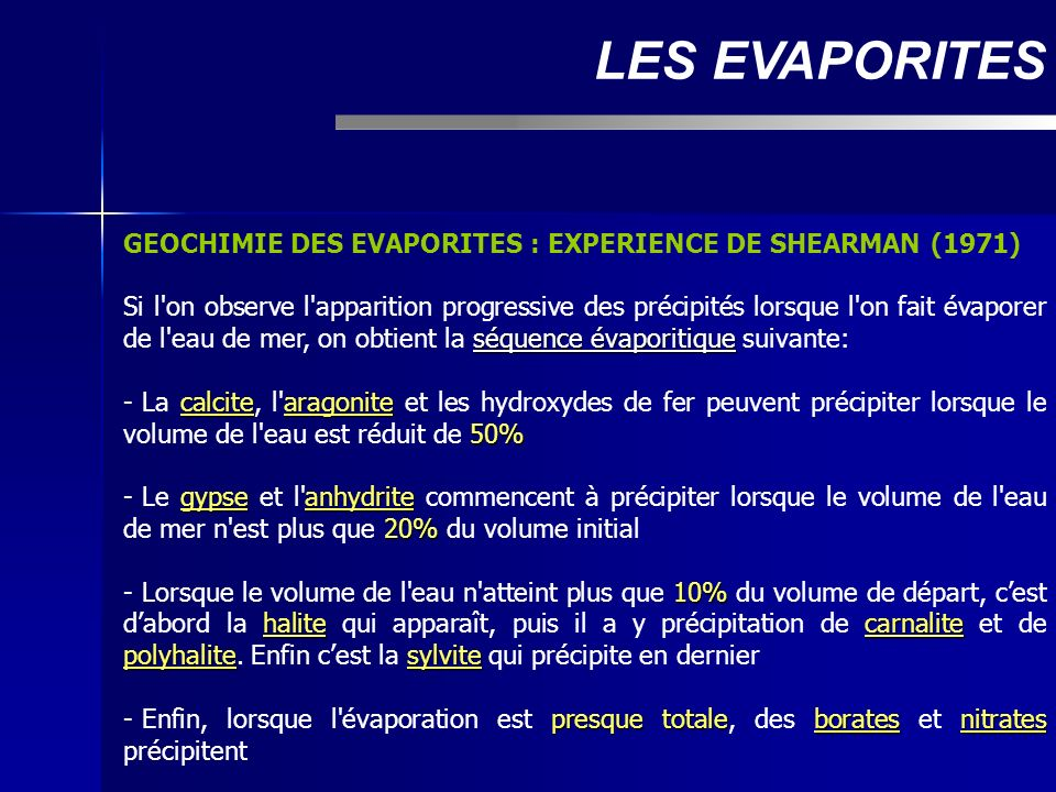 LES EVAPORITES GEOCHIMIE DES EVAPORITES : EXPERIENCE DE SHEARMAN (1971)