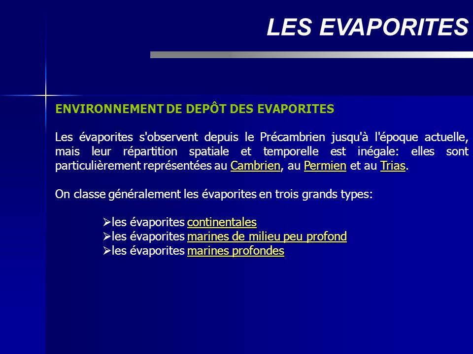 LES EVAPORITES ENVIRONNEMENT DE DEPÔT DES EVAPORITES