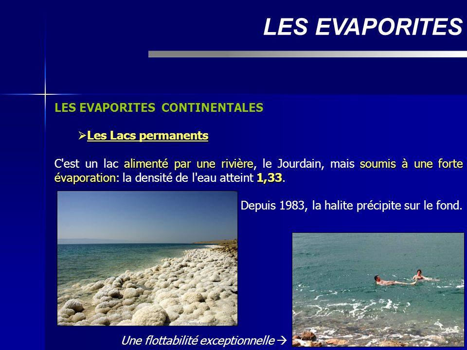 LES EVAPORITES LES EVAPORITES CONTINENTALES Les Lacs permanents