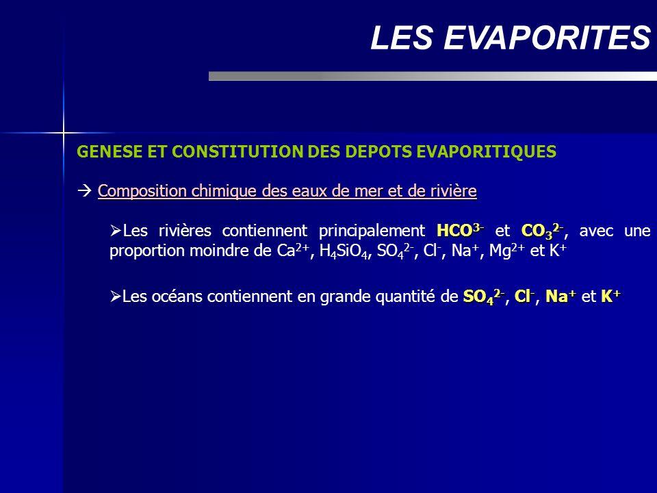 LES EVAPORITES GENESE ET CONSTITUTION DES DEPOTS EVAPORITIQUES
