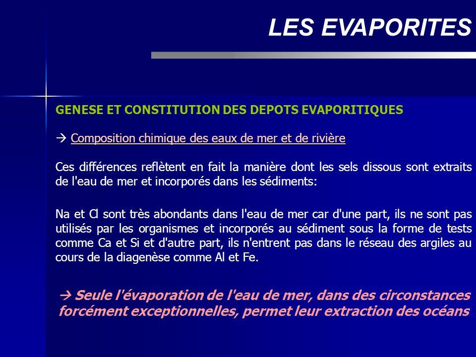 LES EVAPORITES GENESE ET CONSTITUTION DES DEPOTS EVAPORITIQUES.  Composition chimique des eaux de mer et de rivière.
