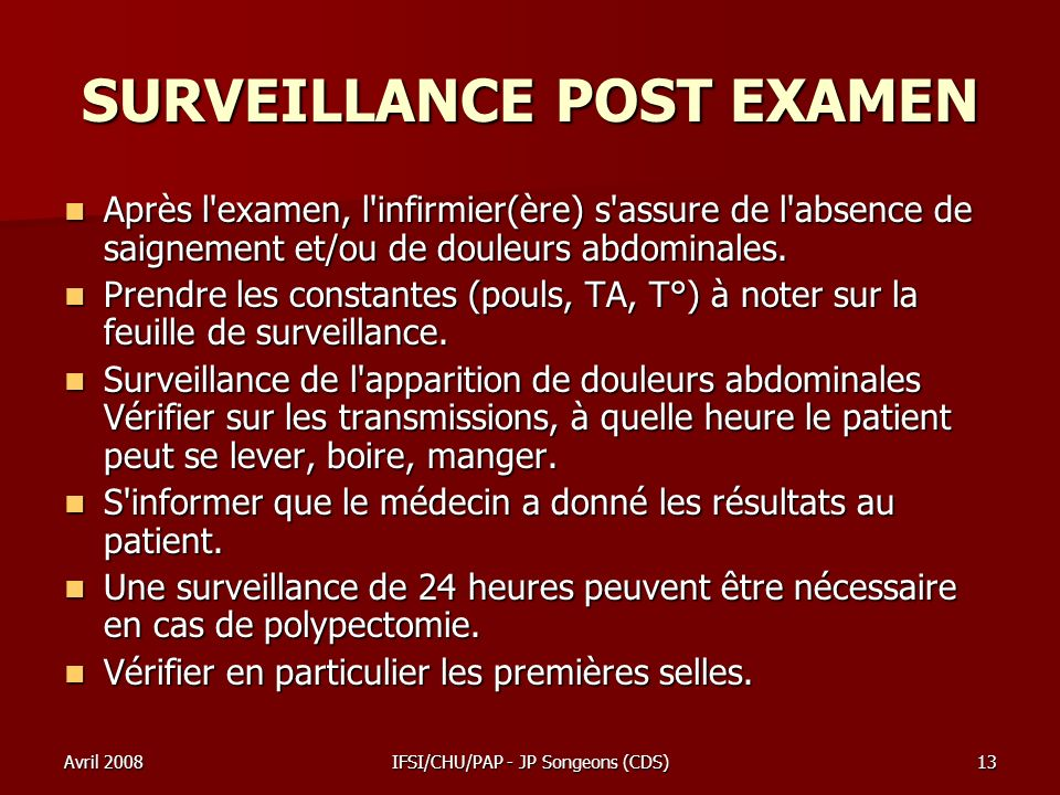 SURVEILLANCE POST EXAMEN