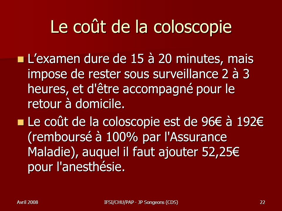 Le coût de la coloscopie