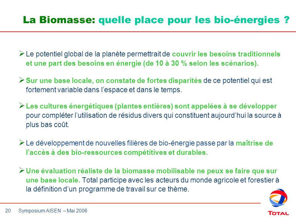 La Biomasse: quelle place pour les bio-énergies