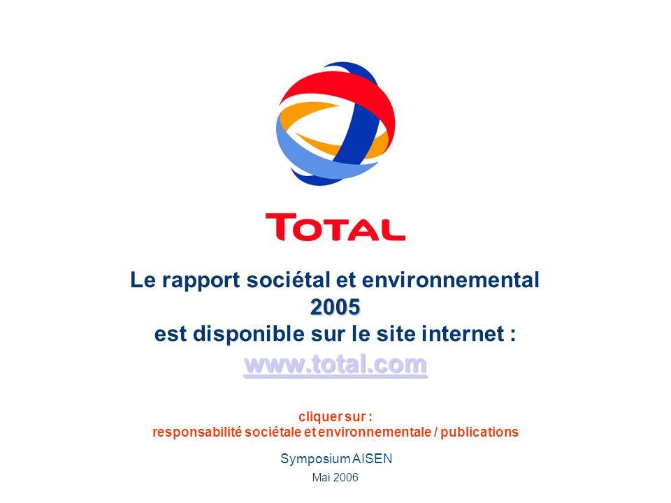 Le rapport sociétal et environnemental 2005 est disponible sur le site internet : www.total.com cliquer sur : responsabilité sociétale et environnementale / publications